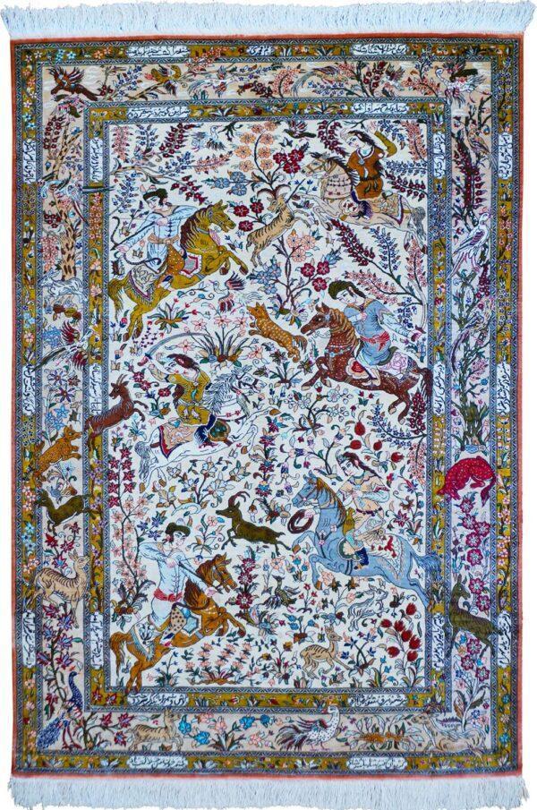 65283-SIGNED SILK PERSIAN QUM HUNTING RUG